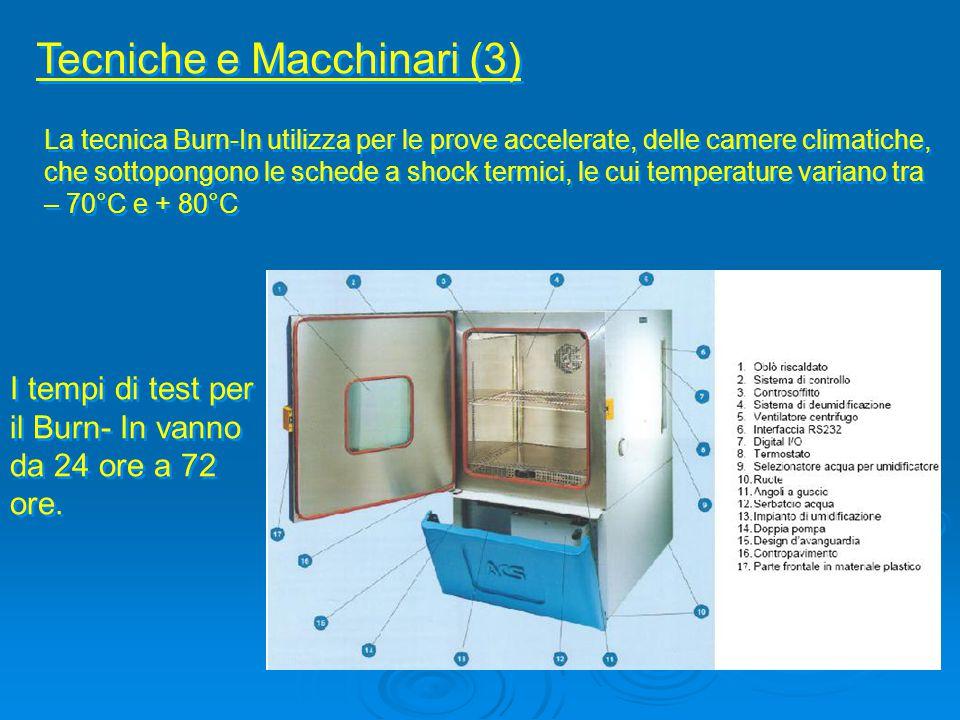 Tecniche e Macchinari (3) La tecnica Burn-In utilizza per le prove accelerate, delle camere climatiche, che sottopongono le schede a shock termici, le