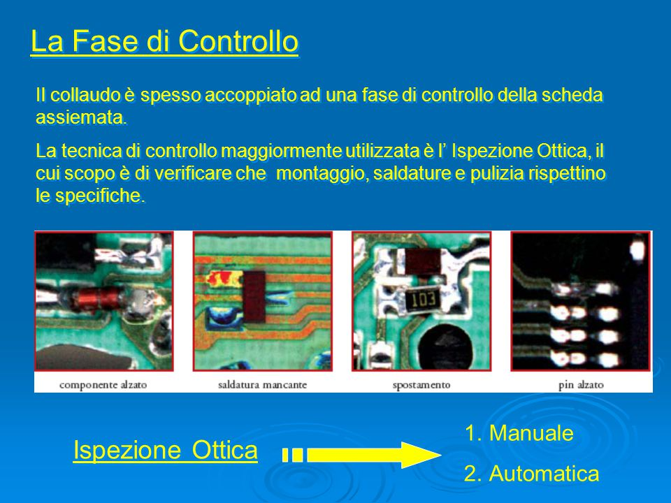Ispezione Ottica Manuale Utilizza microscopi, lenti, PC ed un operatore che effettua l'ispezione e deve essere periodicamente istruito su controlli specifici e limiti di accettazione o rifiuto del prodotto.