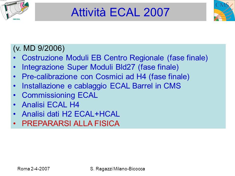 Roma 2-4-2007S. Ragazzi Milano-Bicocca Attività ECAL 2007 (v.