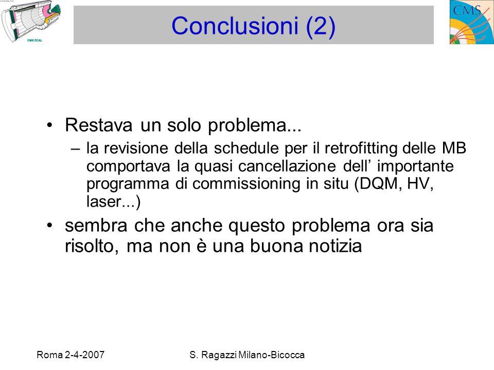 Roma 2-4-2007S. Ragazzi Milano-Bicocca Conclusioni (2) Restava un solo problema...