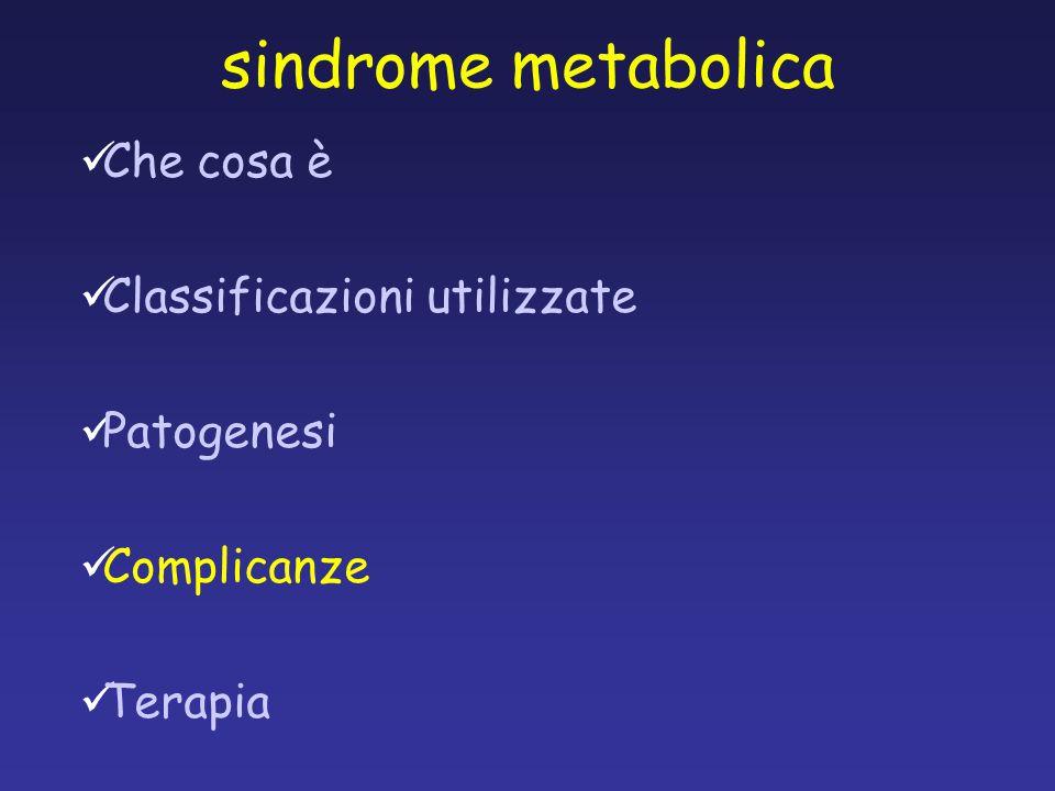 Che cosa è Classificazioni utilizzate Patogenesi Complicanze Terapia sindrome metabolica