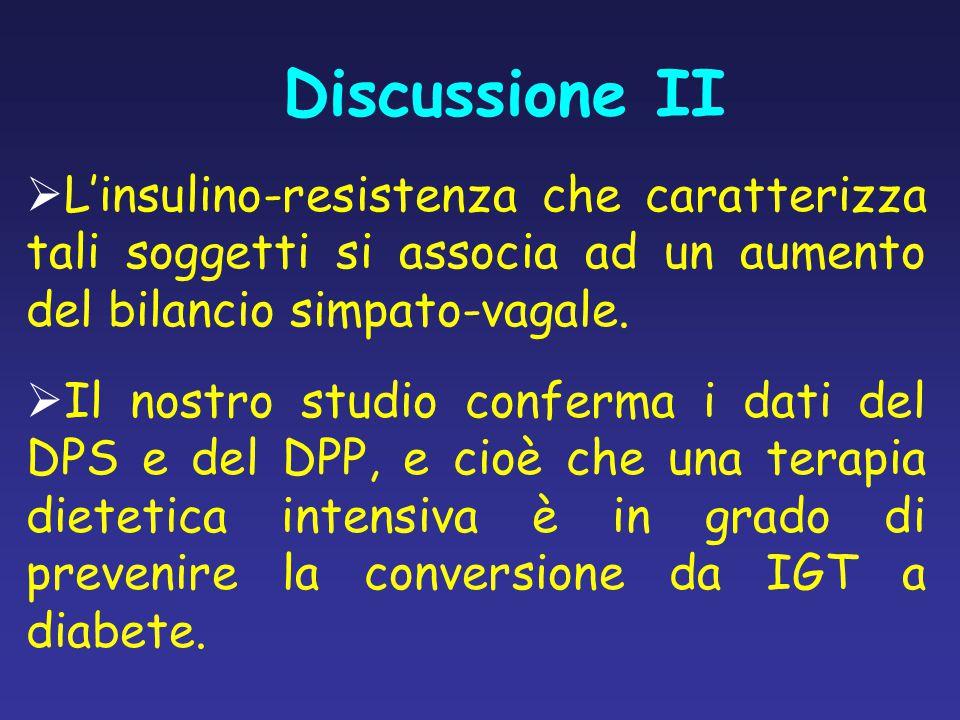 Discussione II  L'insulino-resistenza che caratterizza tali soggetti si associa ad un aumento del bilancio simpato-vagale.  Il nostro studio conferm