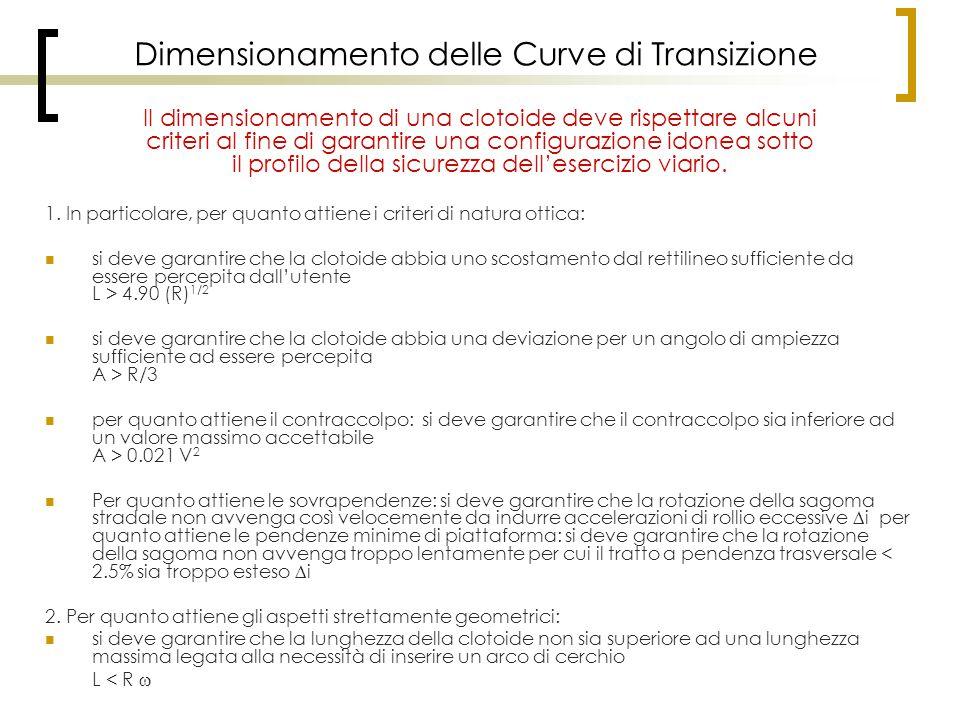 Dimensionamento delle Curve di Transizione 1. In particolare, per quanto attiene i criteri di natura ottica: si deve garantire che la clotoide abbia u
