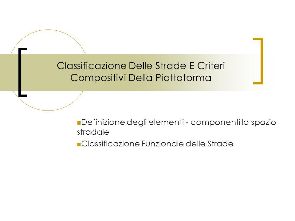 Classificazione Delle Strade E Criteri Compositivi Della Piattaforma Definizione degli elementi - componenti lo spazio stradale Classificazione Funzio