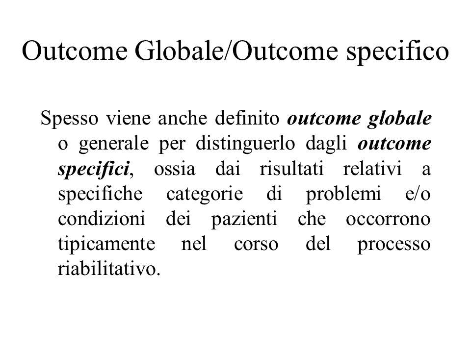 Esempi di outcome globale il ritorno a vivere autonomamente nel proprio ambiente di vita, essere soddisfatti della qualità di vita recuperata