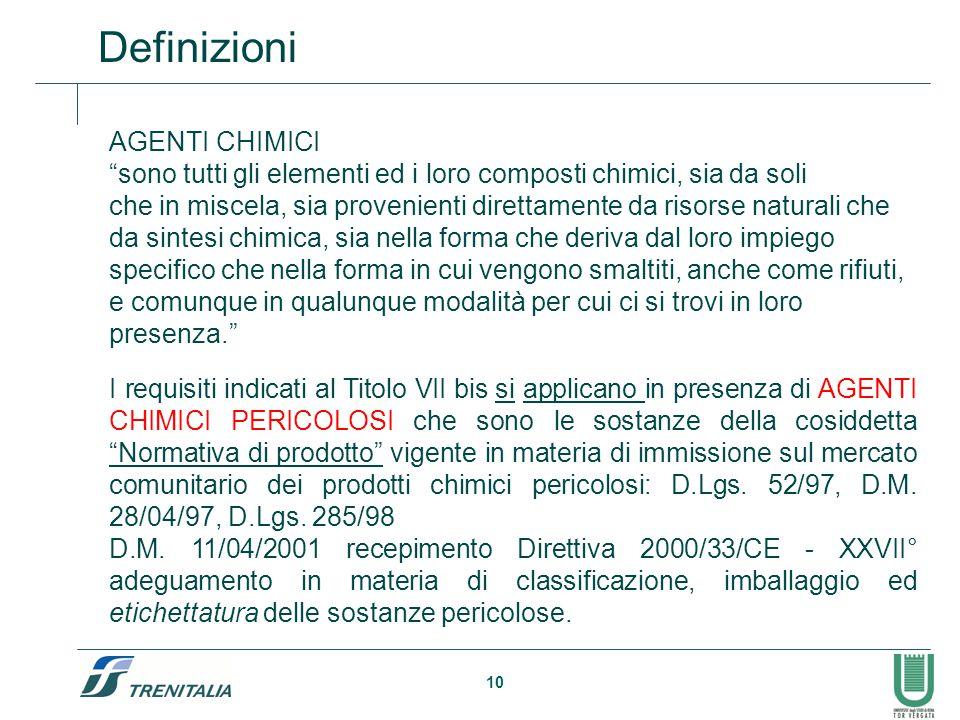 """10 Definizioni AGENTI CHIMICI """"sono tutti gli elementi ed i loro composti chimici, sia da soli che in miscela, sia provenienti direttamente da risorse"""