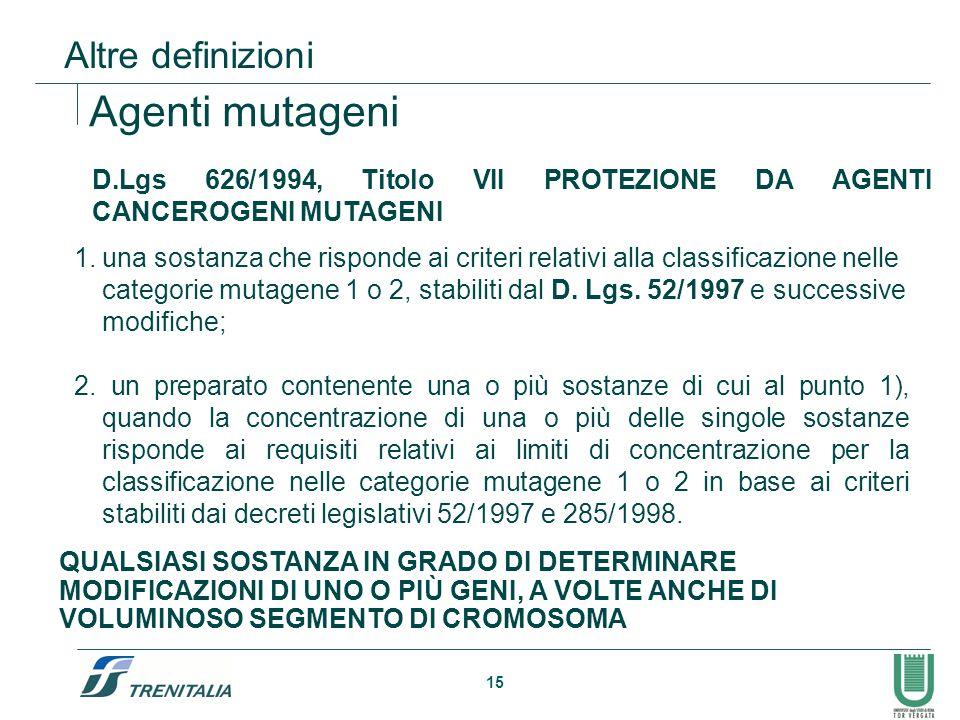15 D.Lgs 626/1994, Titolo VII PROTEZIONE DA AGENTI CANCEROGENI MUTAGENI Agenti mutageni 1.una sostanza che risponde ai criteri relativi alla classific