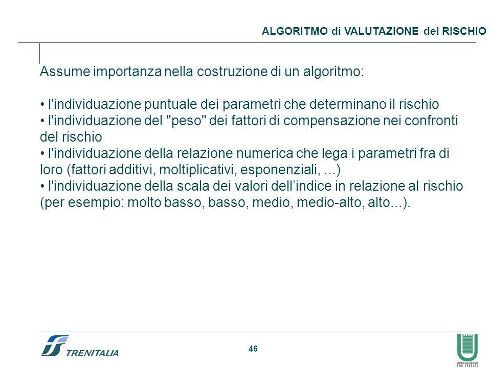46 ALGORITMO di VALUTAZIONE del RISCHIO Assume importanza nella costruzione di un algoritmo: l'individuazione puntuale dei parametri che determinano i