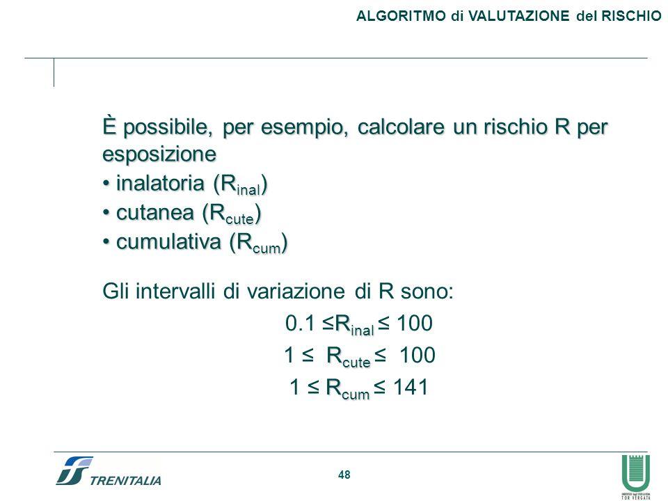 48 ALGORITMO di VALUTAZIONE del RISCHIO È possibile, per esempio, calcolare un rischio R per esposizione inalatoria (R inal ) inalatoria (R inal ) cut