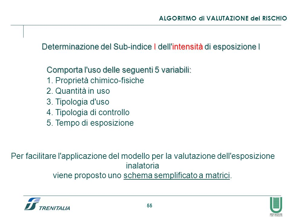 55 Determinazione del Sub-indice I dell'intensità di esposizione I Comporta l'uso delle seguenti 5 variabili: 1. Proprietà chimico-fisiche 2. Quantità