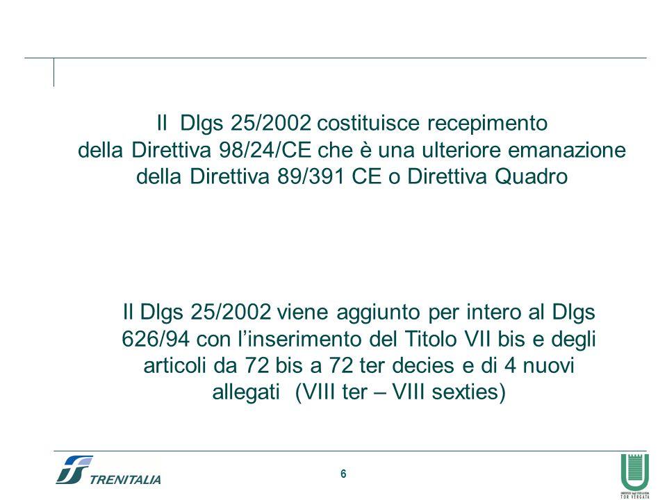 6 Il Dlgs 25/2002 costituisce recepimento della Direttiva 98/24/CE che è una ulteriore emanazione della Direttiva 89/391 CE o Direttiva Quadro Il Dlgs