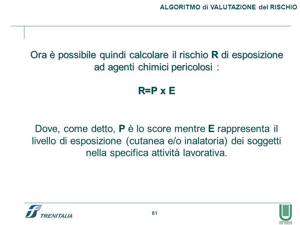 61 Ora è possibile quindi calcolare il rischio R di esposizione ad agenti chimici pericolosi : R=P x E Dove, come detto, P è lo score mentre E rappres