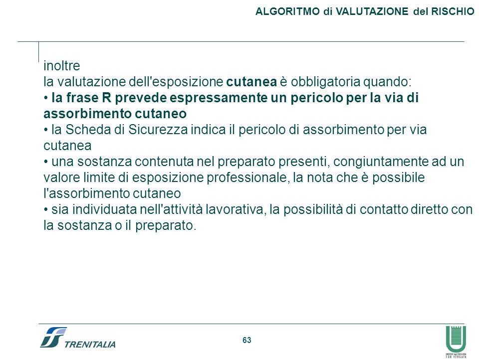 63 ALGORITMO di VALUTAZIONE del RISCHIO inoltre la valutazione dell'esposizione cutanea è obbligatoria quando: la frase R prevede espressamente un per