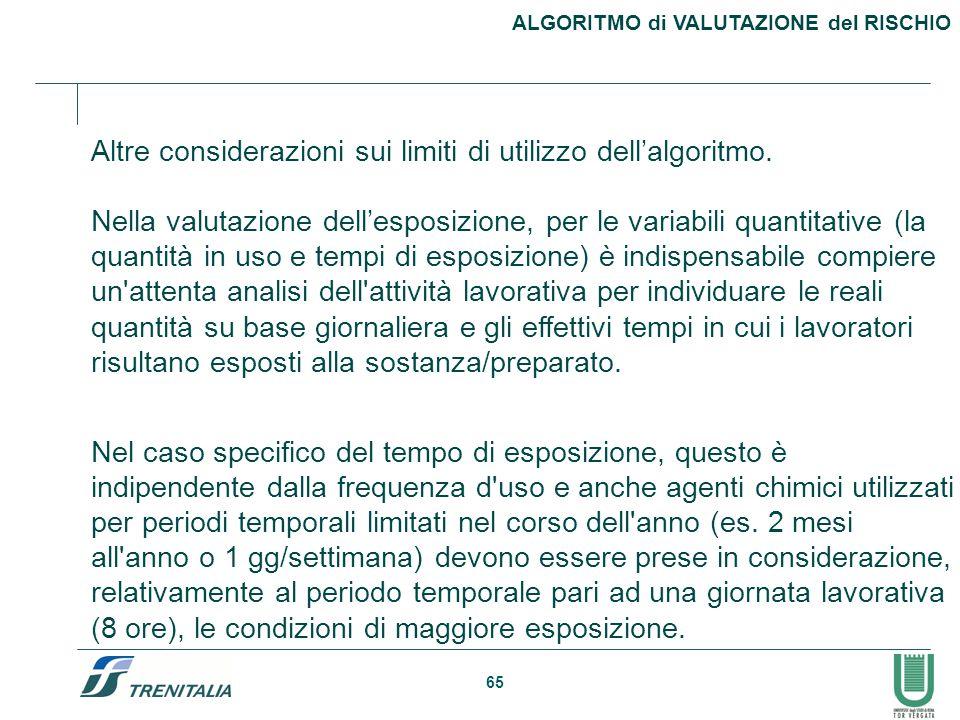 65 ALGORITMO di VALUTAZIONE del RISCHIO Altre considerazioni sui limiti di utilizzo dell'algoritmo. Nella valutazione dell'esposizione, per le variabi