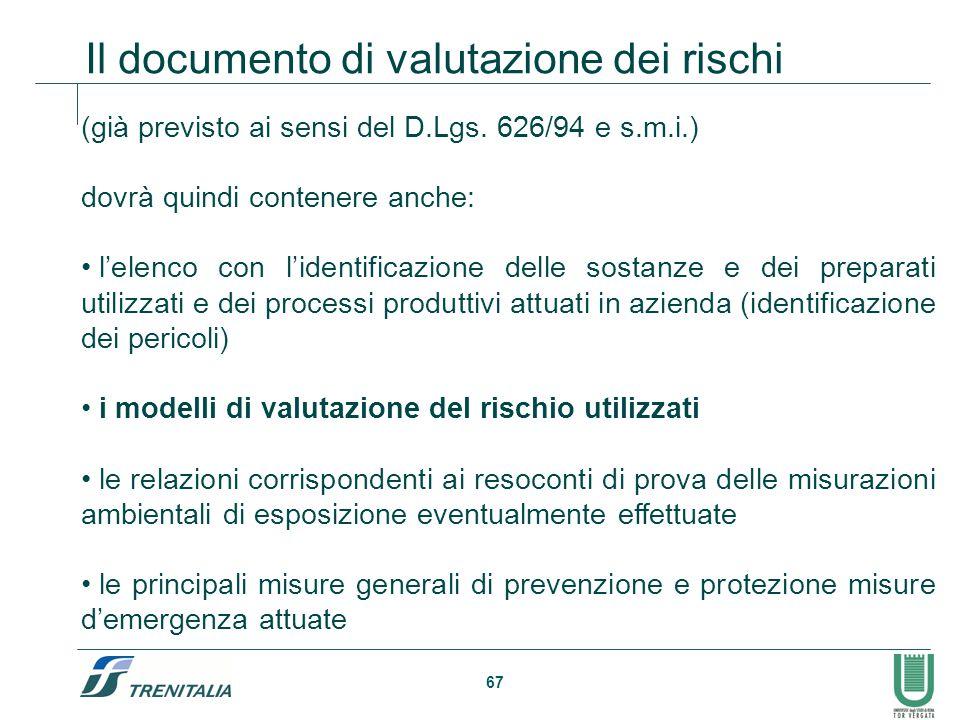 67 Il documento di valutazione dei rischi (già previsto ai sensi del D.Lgs. 626/94 e s.m.i.) dovrà quindi contenere anche: l'elenco con l'identificazi