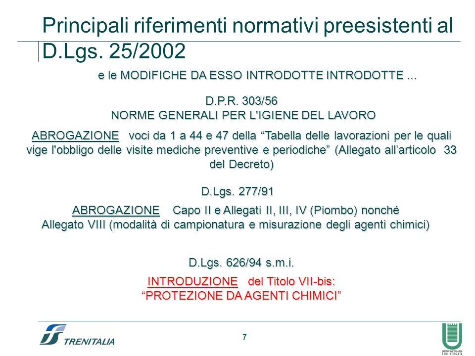7 Principali riferimenti normativi preesistenti al D.Lgs. 25/2002 D.P.R. 303/56 NORME GENERALI PER L'IGIENE DEL LAVORO NORME GENERALI PER L'IGIENE DEL