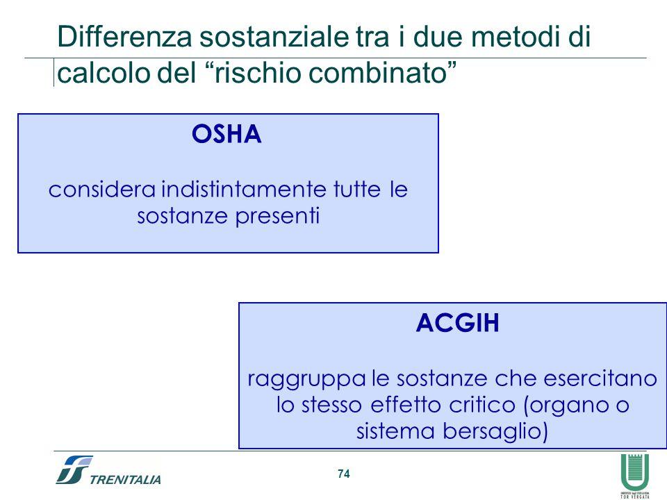 """74 Differenza sostanziale tra i due metodi di calcolo del """"rischio combinato"""" OSHA considera indistintamente tutte le sostanze presenti ACGIH raggrupp"""