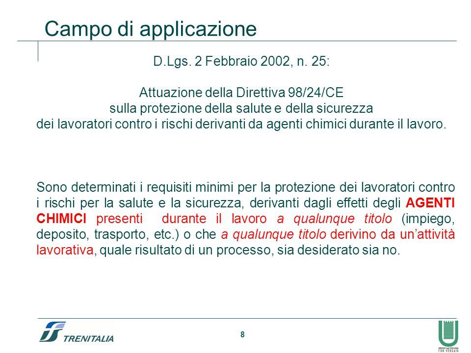 8 Campo di applicazione D.Lgs. 2 Febbraio 2002, n. 25: Attuazione della Direttiva 98/24/CE sulla protezione della salute e della sicurezza dei lavorat