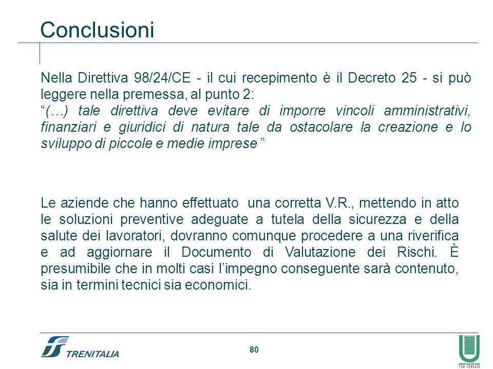 """80 Conclusioni Nella Direttiva 98/24/CE - il cui recepimento è il Decreto 25 - si può leggere nella premessa, al punto 2: """"(…) tale direttiva deve evi"""