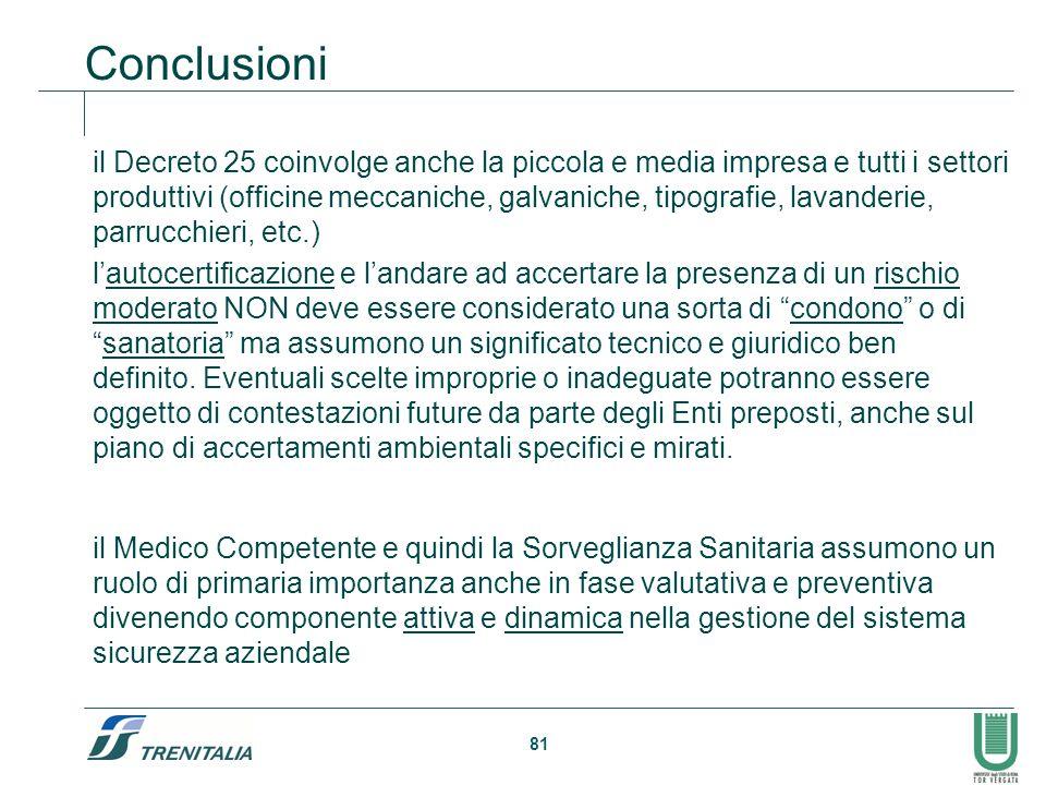 81 Conclusioni il Decreto 25 coinvolge anche la piccola e media impresa e tutti i settori produttivi (officine meccaniche, galvaniche, tipografie, lav