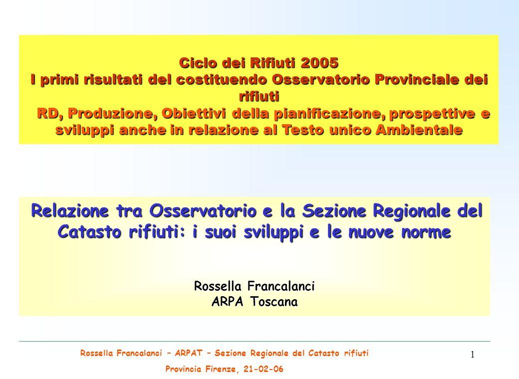 Rossella Francalanci – ARPAT – Sezione Regionale del Catasto rifiuti Provincia Firenze, 21-02-06 12 IL CATASTO DEI RIFIUTI Dlgs 22/97 ed il DM 372/98 (regolamento di attuazione) Il Catasto dei rifiuti viene riorganizzato con il Dlgs 22/97 ed il DM 372/98 (regolamento di attuazione) L.
