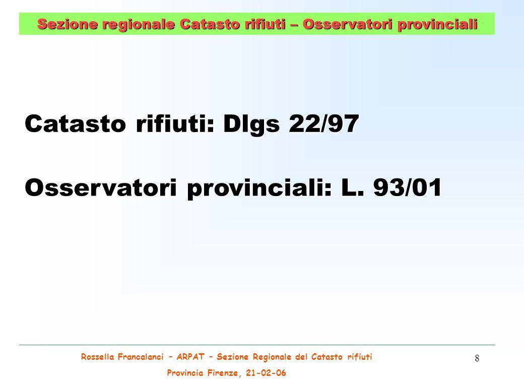 Rossella Francalanci – ARPAT – Sezione Regionale del Catasto rifiuti Provincia Firenze, 21-02-06 39 IL CATASTO DEI RIFIUTI _ OSSERVATORIO RIFIUTI Prospettive Definizione di rifiuto Accordi di programma (art.