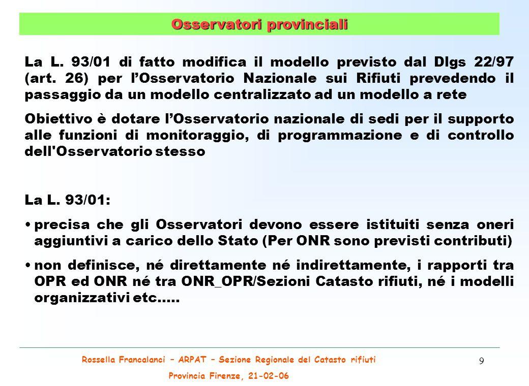 Rossella Francalanci – ARPAT – Sezione Regionale del Catasto rifiuti Provincia Firenze, 21-02-06 50 Principali poli di produzione di Rifiuti Speciali - Anno 2003 Rifiuti Speciali non pericolosi Rifiuti Speciali pericolosi