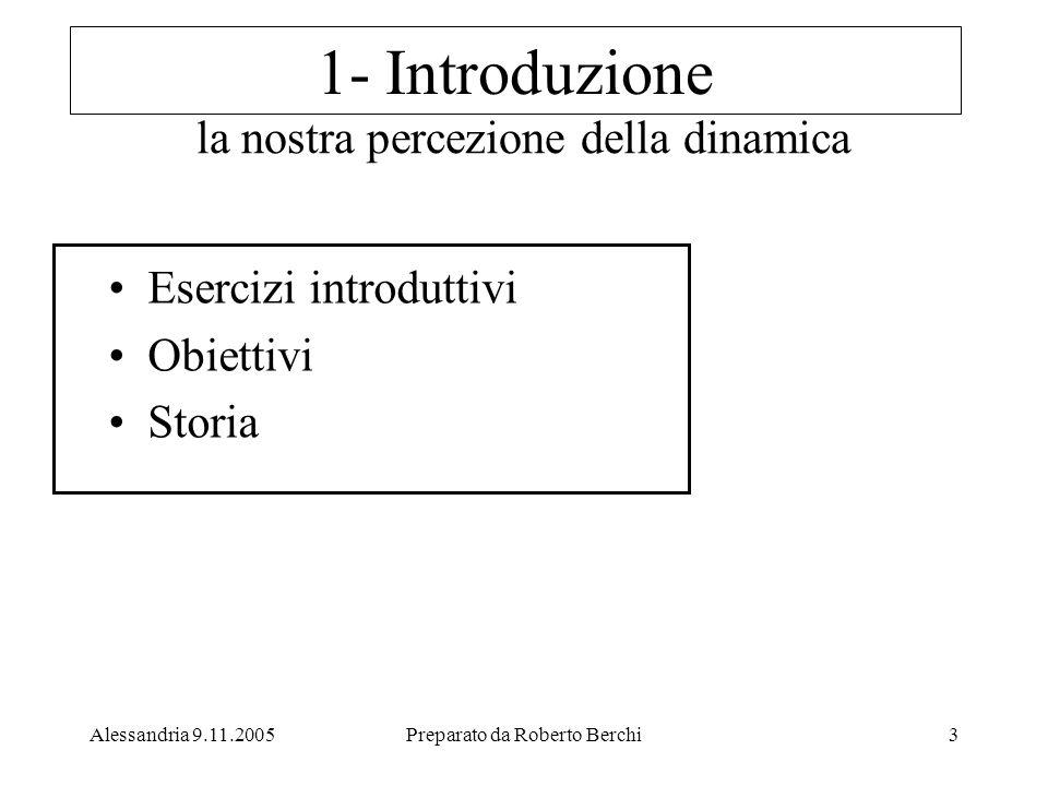 Alessandria 9.11.2005Preparato da Roberto Berchi3 la nostra percezione della dinamica Esercizi introduttivi Obiettivi Storia 1- Introduzione