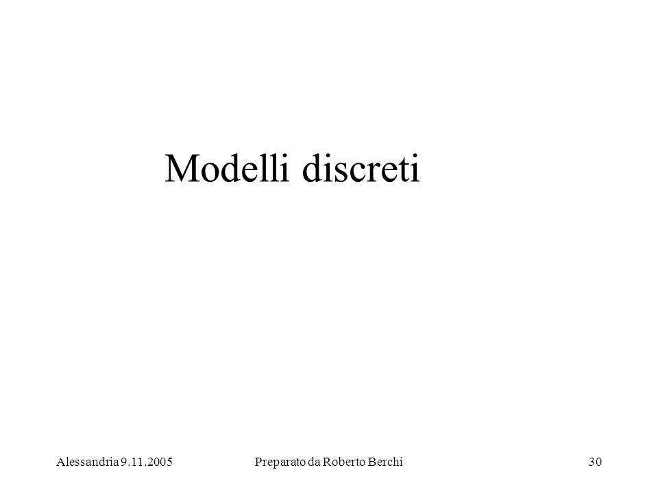 Alessandria 9.11.2005Preparato da Roberto Berchi30 Modelli discreti