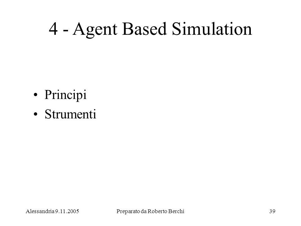 Alessandria 9.11.2005Preparato da Roberto Berchi39 4 - Agent Based Simulation Principi Strumenti