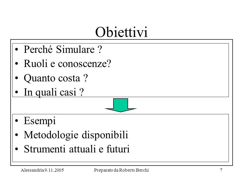 Alessandria 9.11.2005Preparato da Roberto Berchi7 Perché Simulare .