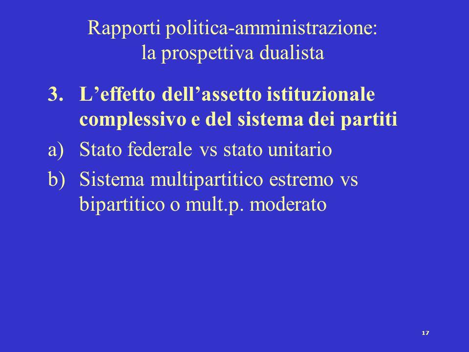 16 Rapporti politica-amministrazione: la prospettiva dualista 2.Analisi delle risorse di cui dispongono le due classi di attori nel processo decisiona