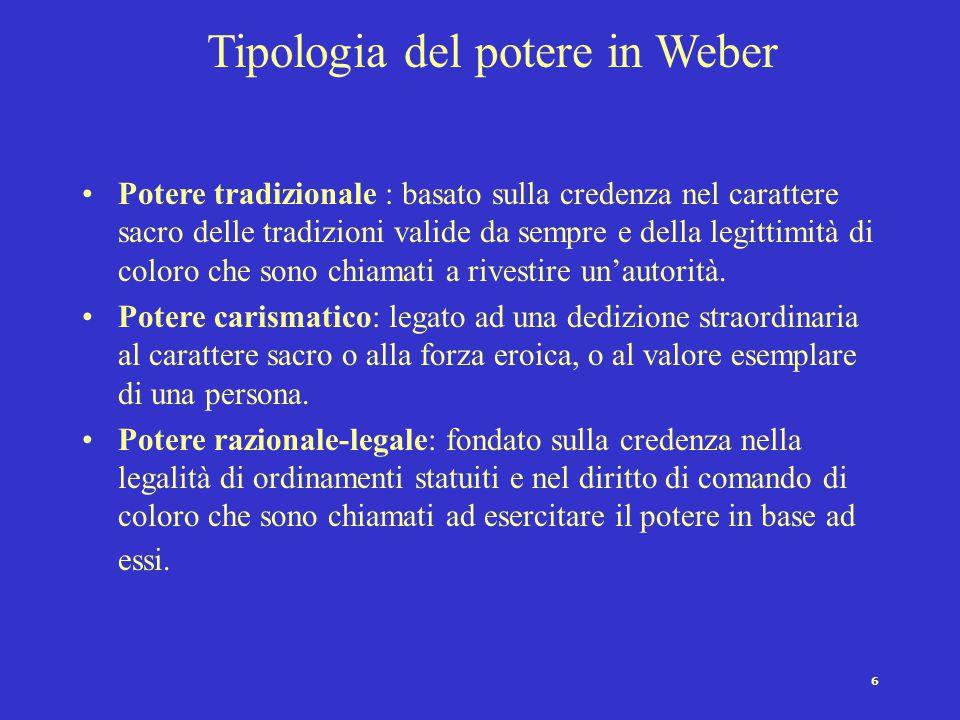 6 Tipologia del potere in Weber Potere tradizionale : basato sulla credenza nel carattere sacro delle tradizioni valide da sempre e della legittimità di coloro che sono chiamati a rivestire un'autorità.