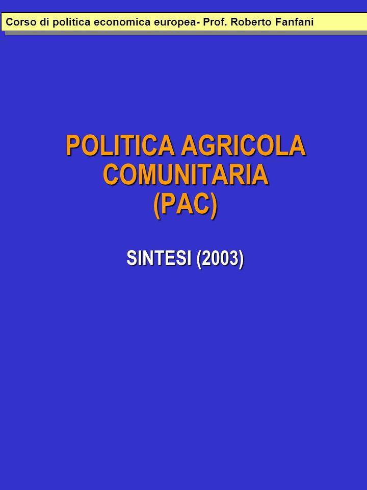 POLITICA AGRICOLA COMUNITARIA (PAC) SINTESI (2003) Corso di politica economica europea- Prof.