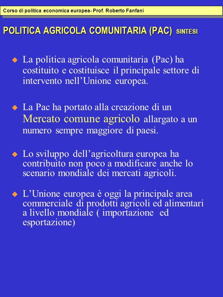 POLITICA AGRICOLA COMUNITARIA (PAC) SINTESI  La politica agricola comunitaria (Pac) ha costituito e costituisce il principale settore di intervento nell'Unione europea.