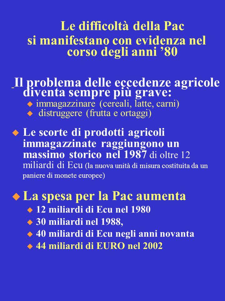 Le difficoltà della Pac si manifestano con evidenza nel corso degli anni '80 Il problema delle eccedenze agricole diventa sempre più grave: u immagazzinare (cereali, latte, carni) u distruggere (frutta e ortaggi)  Le scorte di prodotti agricoli immagazzinate raggiungono un massimo storico nel 1987 di oltre 12 miliardi di Ecu (la nuova unità di misura costituita da un paniere di monete europee)  La spesa per la Pac aumenta u 12 miliardi di Ecu nel 1980 u 30 miliardi nel 1988, u 40 miliardi di Ecu negli anni novanta u 44 miliardi di EURO nel 2002