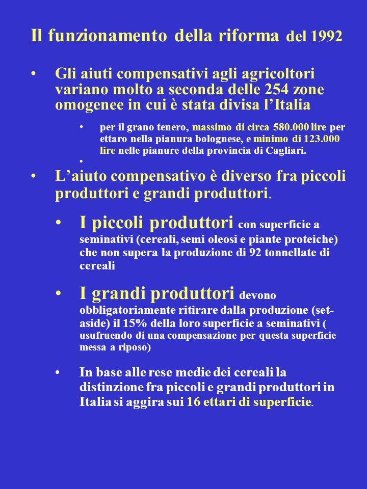 Il funzionamento della riforma del 1992 Gli aiuti compensativi agli agricoltori variano molto a seconda delle 254 zone omogenee in cui è stata divisa l'Italia per il grano tenero, massimo di circa 580.000 lire per ettaro nella pianura bolognese, e minimo di 123.000 lire nelle pianure della provincia di Cagliari.