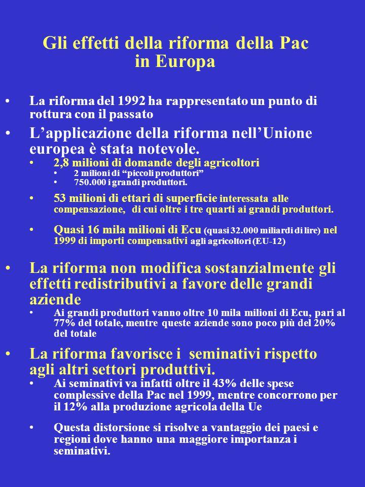 Gli effetti della riforma della Pac in Europa La riforma del 1992 ha rappresentato un punto di rottura con il passato L'applicazione della riforma nell'Unione europea è stata notevole.