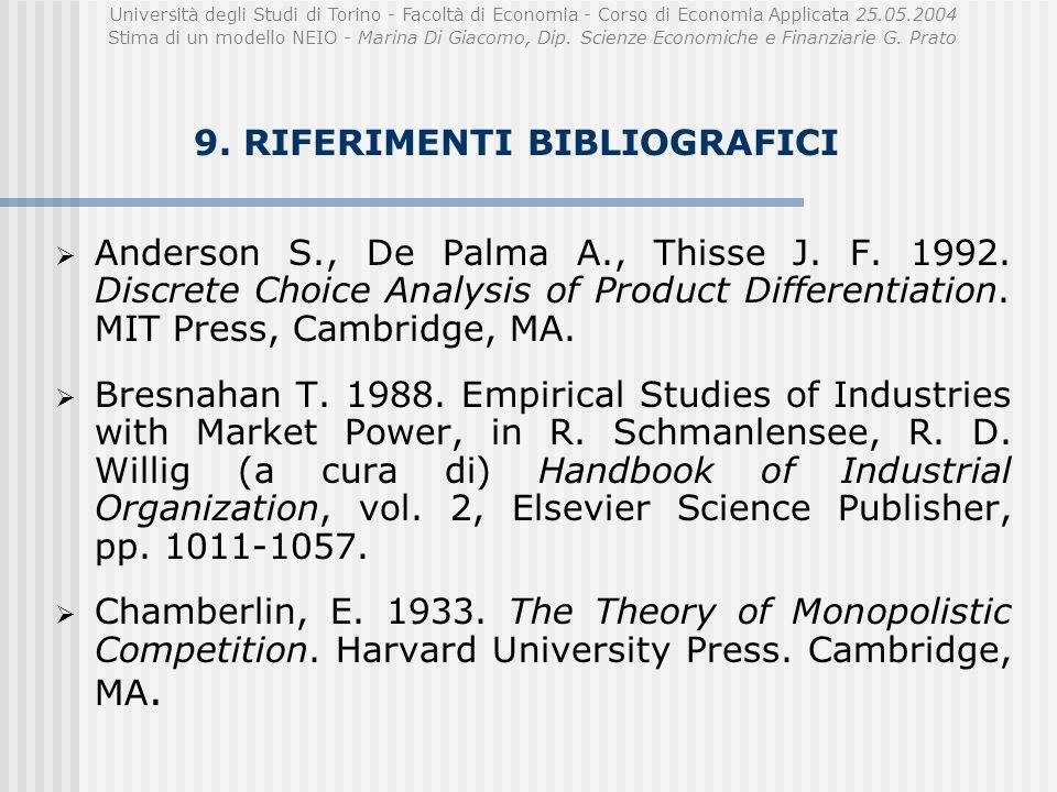Università degli Studi di Torino - Facoltà di Economia - Corso di Economia Applicata 25.05.2004 Stima di un modello NEIO - Marina Di Giacomo, Dip.