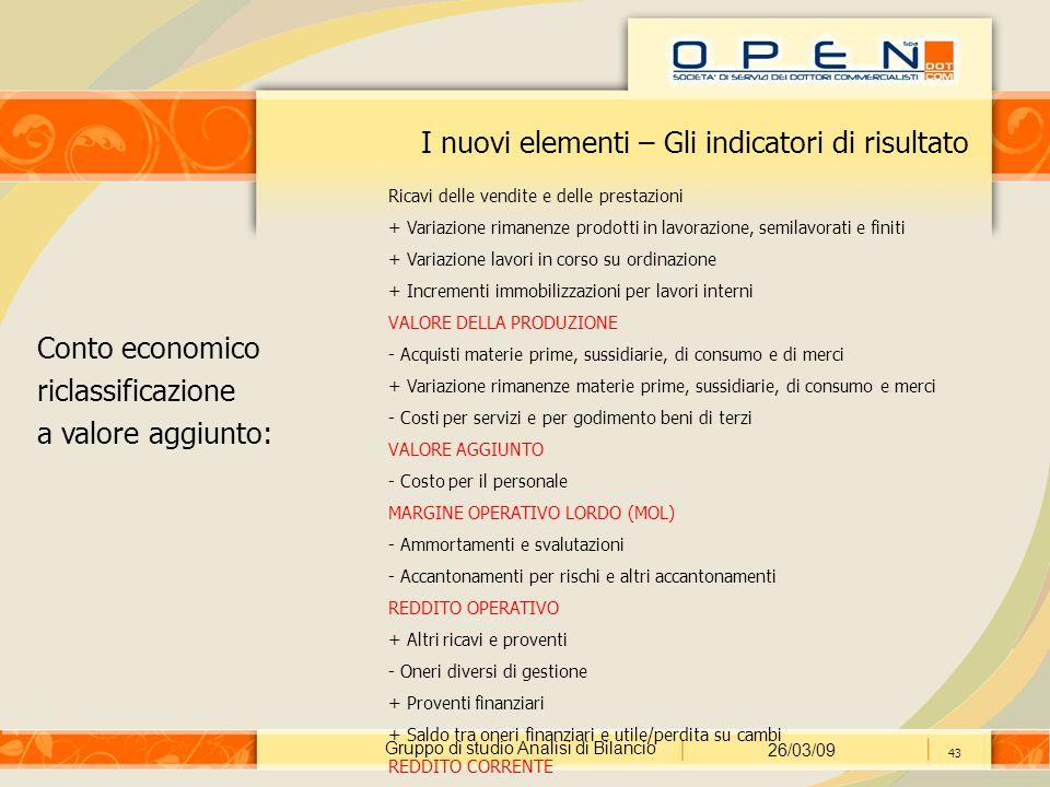 Gruppo di studio Analisi di Bilancio 26/03/09 43 I nuovi elementi – Gli indicatori di risultato Conto economico riclassificazione a valore aggiunto: R