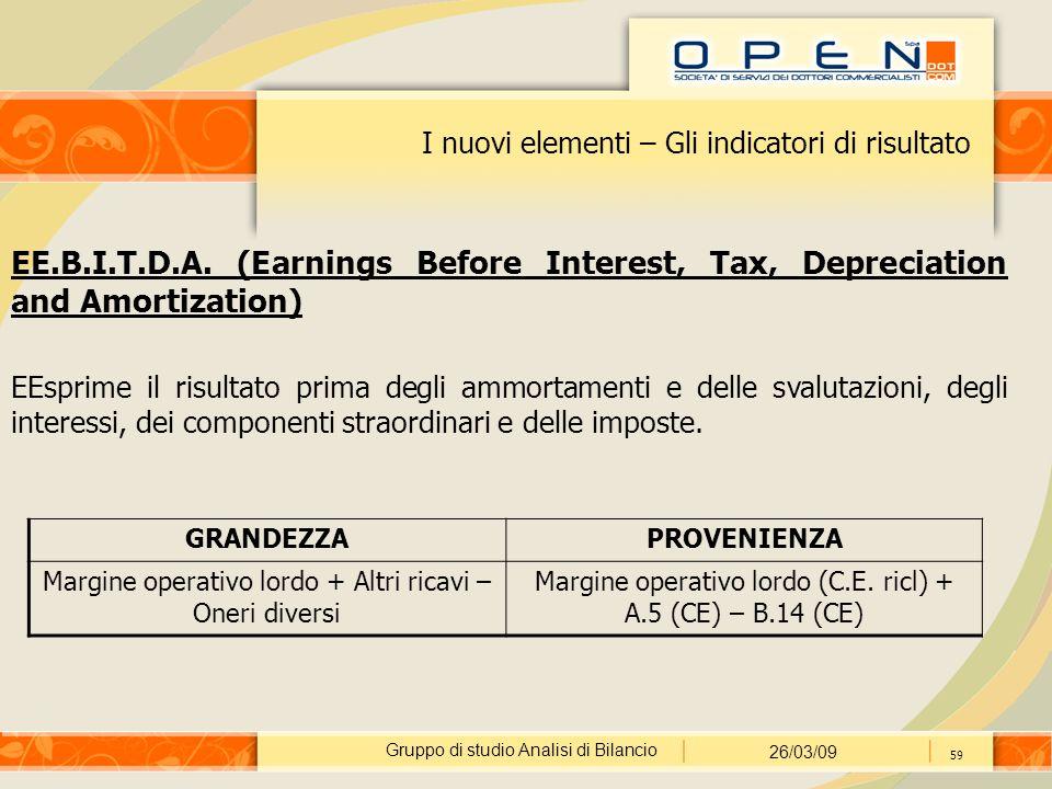 Gruppo di studio Analisi di Bilancio 26/03/09 59 I nuovi elementi – Gli indicatori di risultato EE.B.I.T.D.A.