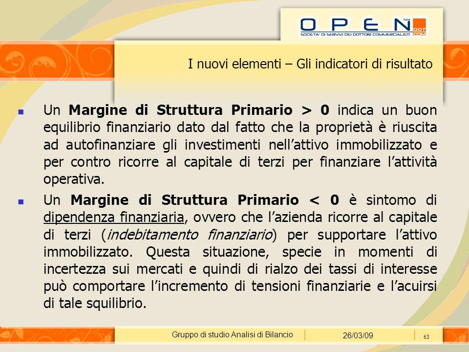 Gruppo di studio Analisi di Bilancio 26/03/09 63 I nuovi elementi – Gli indicatori di risultato Un Margine di Struttura Primario > 0 indica un buon eq