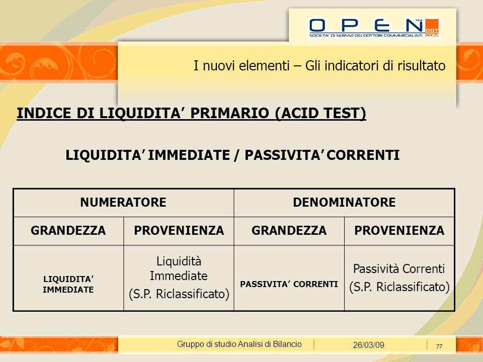 Gruppo di studio Analisi di Bilancio 26/03/09 77 I nuovi elementi – Gli indicatori di risultato INDICE DI LIQUIDITA' PRIMARIO (ACID TEST) LIQUIDITA' I