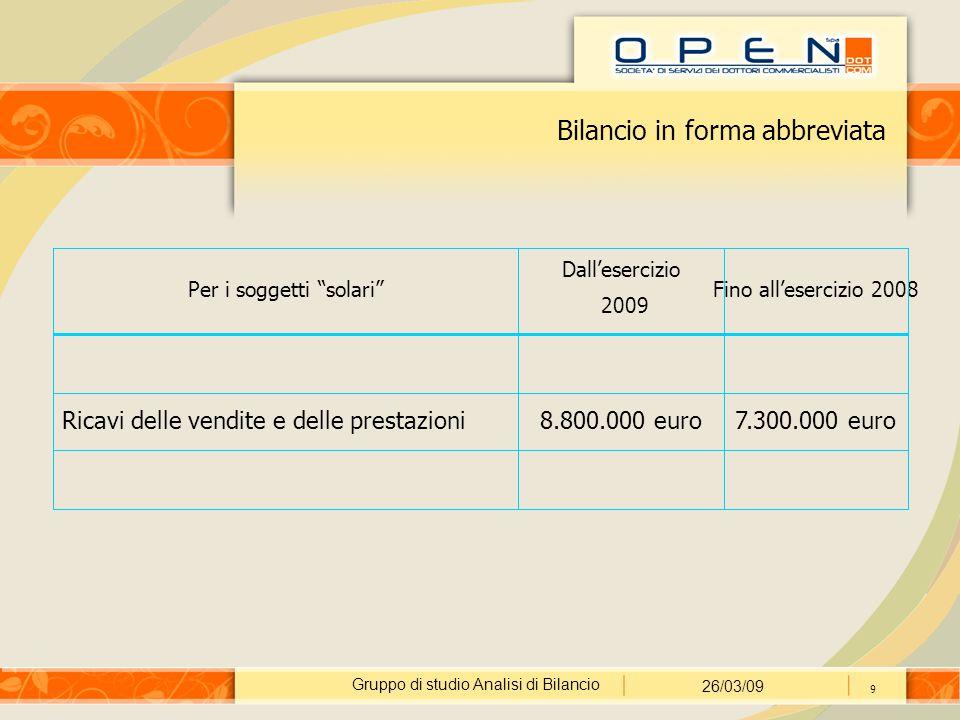 Gruppo di studio Analisi di Bilancio 26/03/09 9 Bilancio in forma abbreviata Per i soggetti solari Dall'esercizio 2009 Fino all'esercizio 2008 Ricavi delle vendite e delle prestazioni8.800.000 euro7.300.000 euro