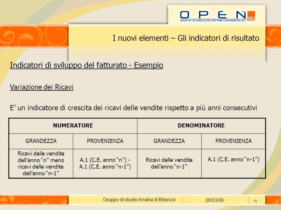 Gruppo di studio Analisi di Bilancio 26/03/09 91 I nuovi elementi – Gli indicatori di risultato Indicatori di sviluppo del fatturato - Esempio Variazi
