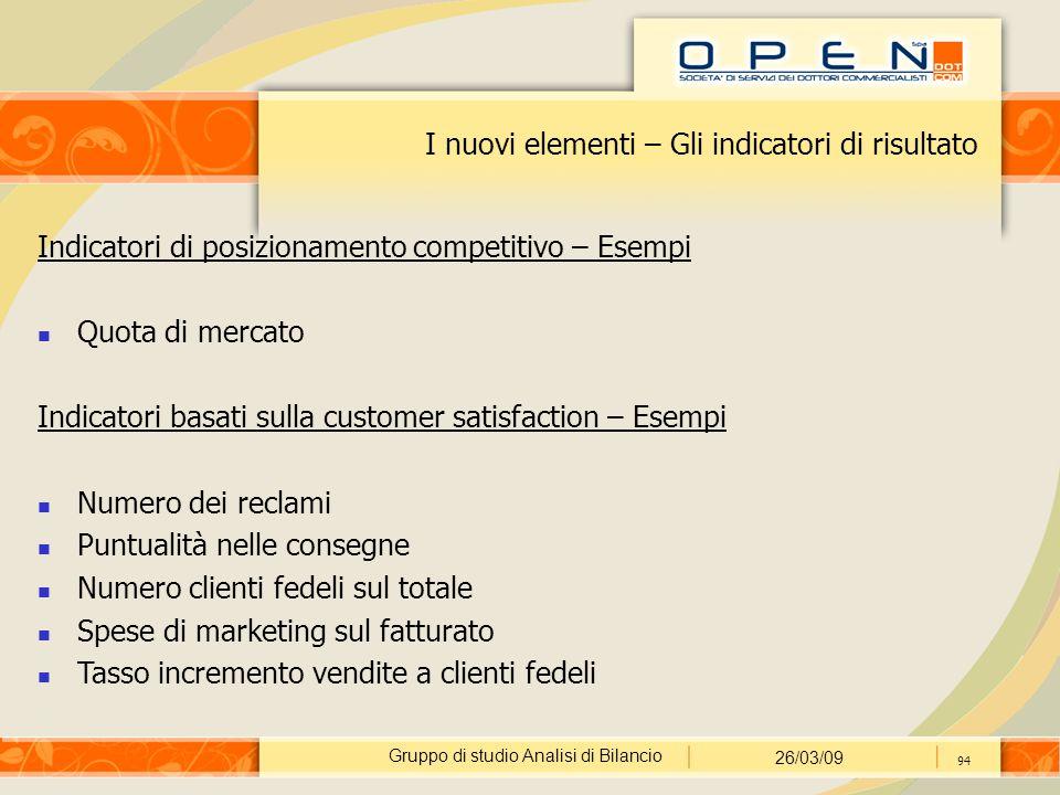 Gruppo di studio Analisi di Bilancio 26/03/09 94 I nuovi elementi – Gli indicatori di risultato Indicatori di posizionamento competitivo – Esempi Quot