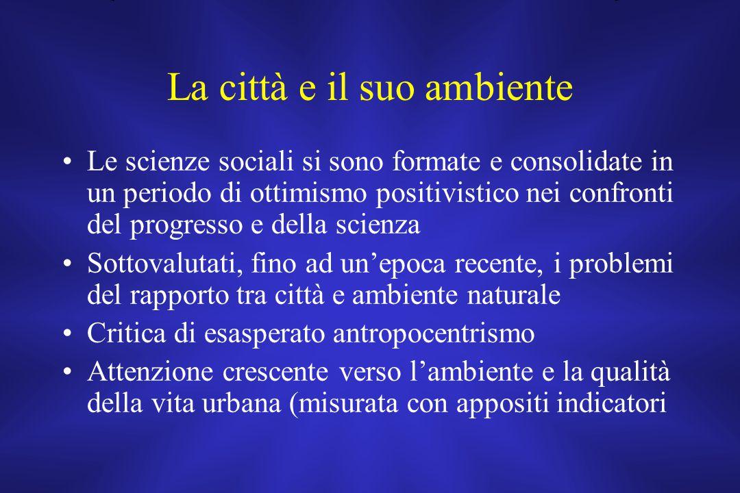 La città e il suo ambiente Le scienze sociali si sono formate e consolidate in un periodo di ottimismo positivistico nei confronti del progresso e del