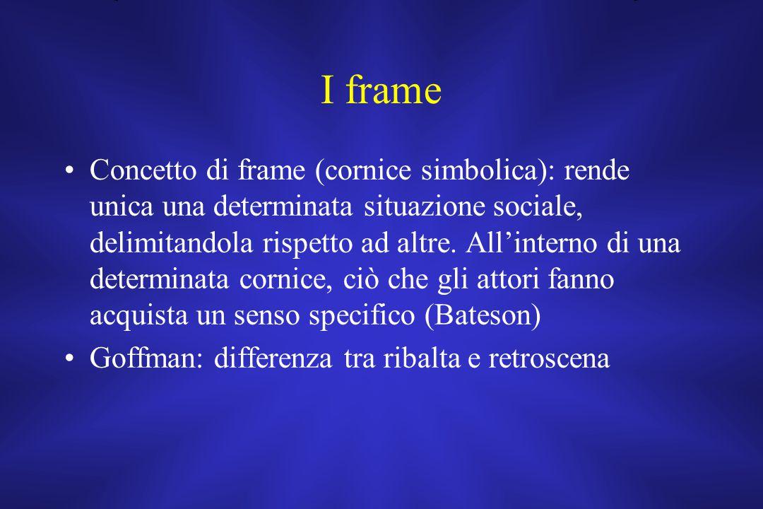 I frame Concetto di frame (cornice simbolica): rende unica una determinata situazione sociale, delimitandola rispetto ad altre. All'interno di una det