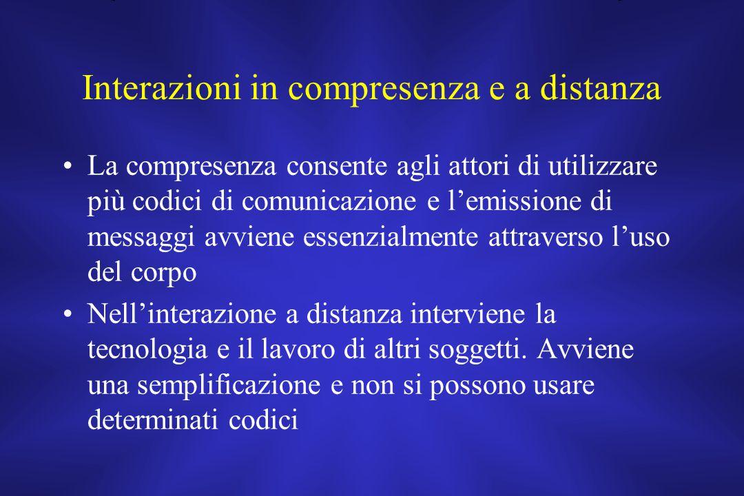 Interazioni in compresenza e a distanza La compresenza consente agli attori di utilizzare più codici di comunicazione e l'emissione di messaggi avvien