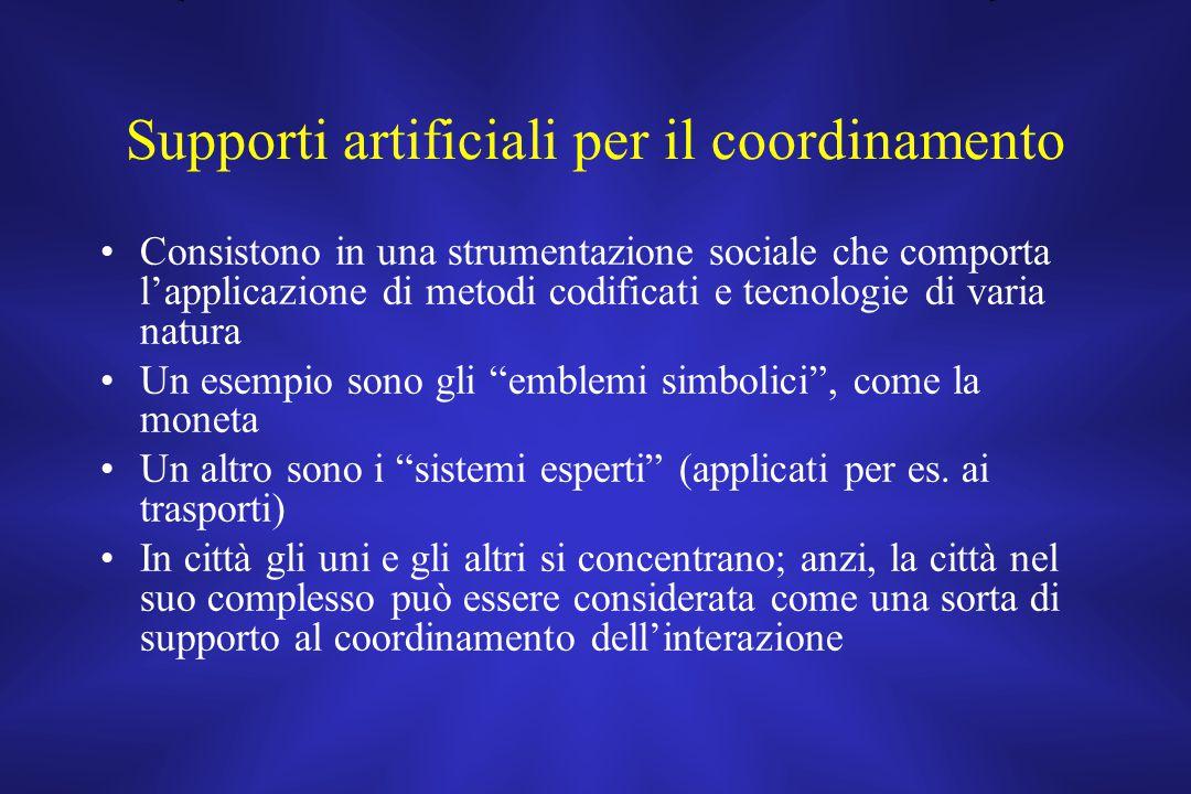 Supporti artificiali per il coordinamento Consistono in una strumentazione sociale che comporta l'applicazione di metodi codificati e tecnologie di va